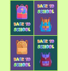 Back to school satchel set vector