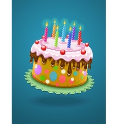 birthday cake with burning vector image
