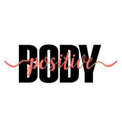 Body positive t-shirt print with coral ribbon vector