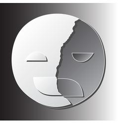 Broken happy mask on sad face vector