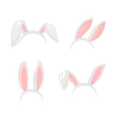 bunny rabbit ears easter holiday icons vector image