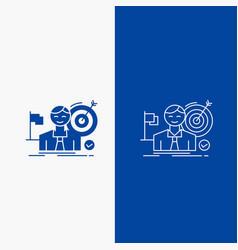 business goal hit market success line and glyph vector image