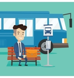 Businessman waiting for bus at the bus stop vector