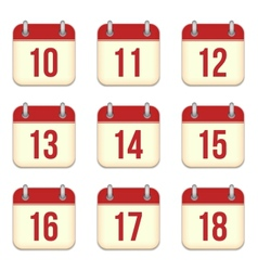 Calendar app icons 10 to 18 days vector