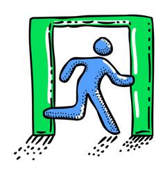 Cartoon image of exit icon leave symbol vector