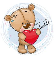 cartoon teddy bear with heart on a blue background vector image