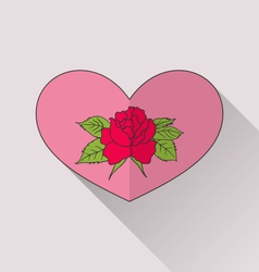 Celebration romantic heart with flower rose for vector image