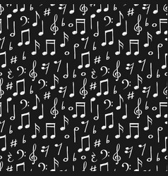 Chalk music notes and signs seamless pattern hand vector