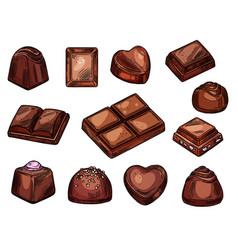 Chocolates icons choco candies and sweets sketch vector