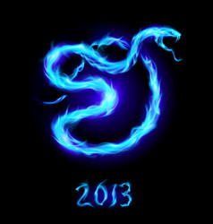 christmas card with blue fire snake on black vector image