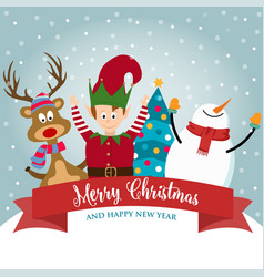 christmas card with cute elf snowman and reindeer vector image