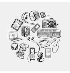 Circular design electronic gadget vector