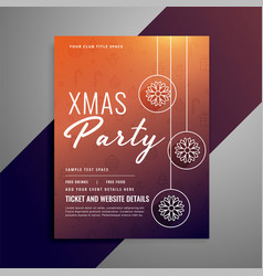 clean christmas poster design with snowflake ball vector image
