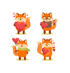 collection of cute cartoon lovely red fox vector image