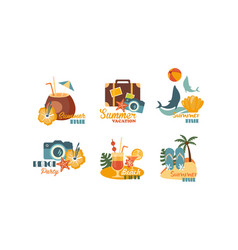 collection of summer logos beach party summer vector image