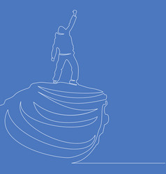 continuous one line man on the top concept vector image