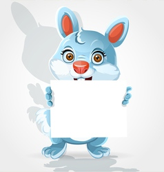 Cute little bunny holding banner vector image