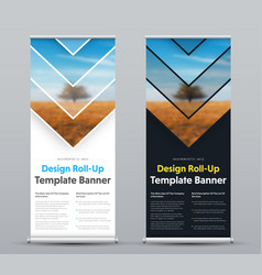 design of roll-up banner with arrows and place vector image