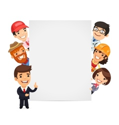 Diverse Professional Presenting Empty Vertical vector image