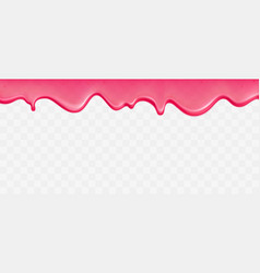 Dripping flowing pink slime border vector