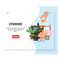 education website landing page design vector image