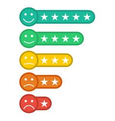 Emoji with star rating feedback emoticon star vector