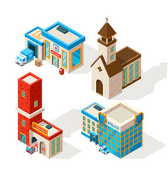 exteriors of municipal buildings 3d vector image