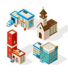 Exteriors of municipal buildings 3d vector