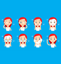 Face cleaning and care step-by-step actions set vector