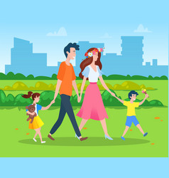 family with two kids walking in city park vector image