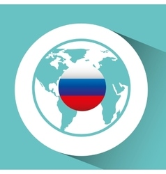 Flag russia pin map design isolated vector