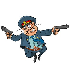 funny cartoon policeman with guns running vector image