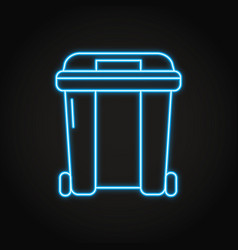 garbage container icon in neon line style vector image