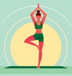 Girl standing in yoga tree pose or vrikshasana vector