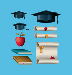 graduation celebration set icons vector image