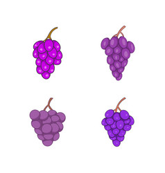 grapes icon set cartoon style vector image