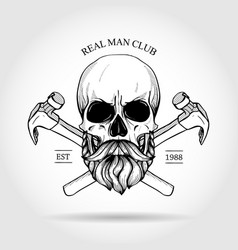 hand drawn sketch skull with axes vector image