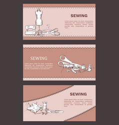 hand drawn tailoring horizontal banners vector image