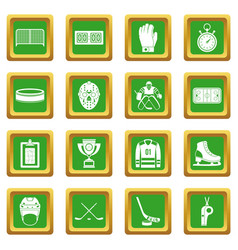 Hockey icons set green vector