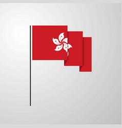 Hongkong waving flag creative background vector