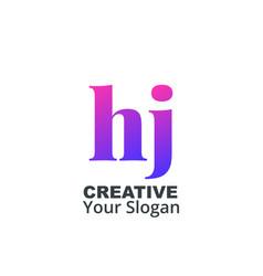 Initial letter hj lowercase design logo template vector