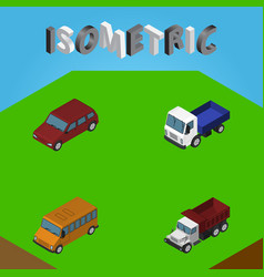 Isometric car set of freight lorry car and other vector