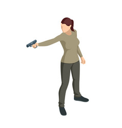 isometric woman with a gun in his hand isolated vector image