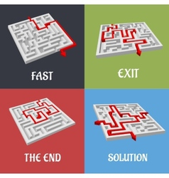 Labyrinth puzzles with solutions vector image