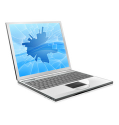 laptop with broken screen vector image
