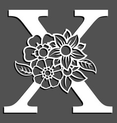 Letter silhouette with flowers letter x vector