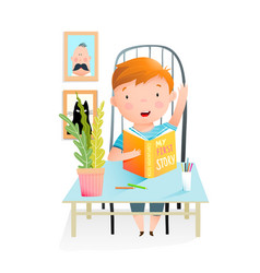 little boy study read book doing homework at home vector image