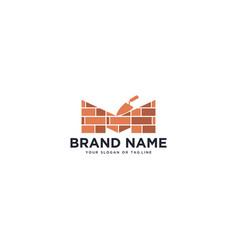 Logo design letter m and brick vector