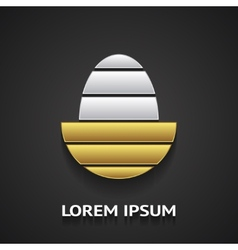 Logo template in shape of golden egg vector