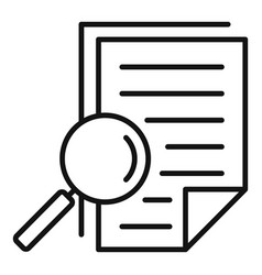 Magnifier tax papers icon outline style vector